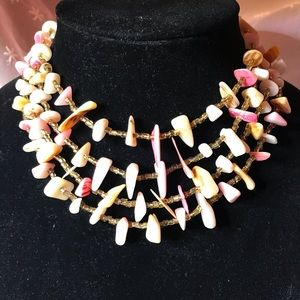 Jewelry - Four strand pink and gold mother of pearl necklace